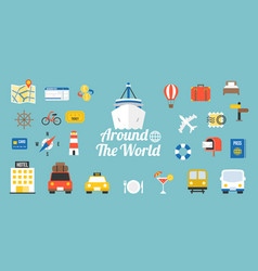 Travel around the world typographic vector
