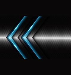 Twin blue glossy arrow on silver dark hexagon mesh vector