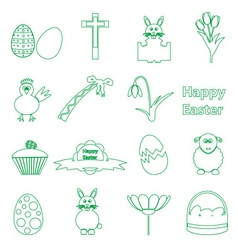 Various simple outline Easter icons set eps10 vector