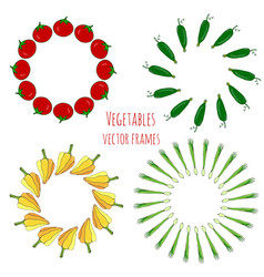 vegetable hand drawn frames set isolated vector image