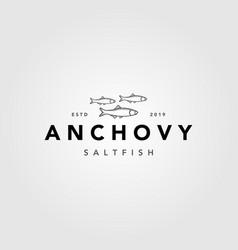vintage minimalist anchovy fish logo label emblem vector image