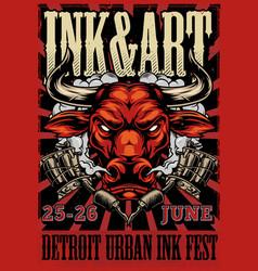 Vintage tattoo festival advertising poster vector