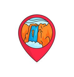 Waterfall map pin locator logo badge high vector
