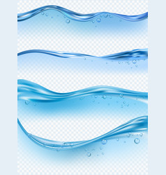 Wave realistic water splashes liquid surface vector