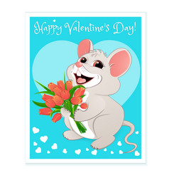 White mouse with red tulips vector