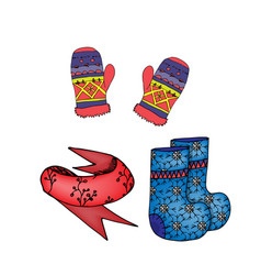 Winter clothes mittens scarf felt boots colored vector