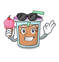 With ice cream bubble tea character cartoon vector