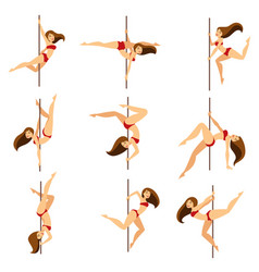 woman pole dancer dancing poses on pole vector image