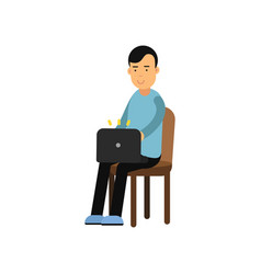 young man in casual clothes sitting on a chair vector image