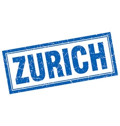 Zurich blue square grunge stamp on white vector