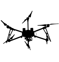 Black silhouette drone quadrocopter vector image vector image