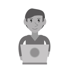 monochromatic young man working laptop design vector image