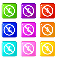 no cockroach sign icons 9 set vector image vector image