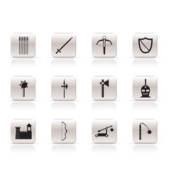 simple medieval arms and objects icons vector image vector image