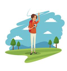beauty woman tourist mountain landscape image vector image