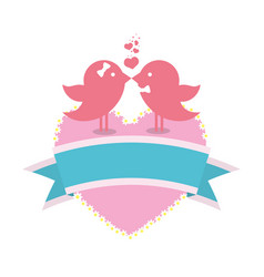bird couple married card with heart and ribbon vector image