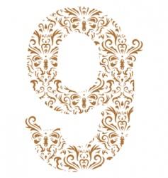 floral number 9 vector image