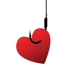 Heart on fishhook vector image vector image