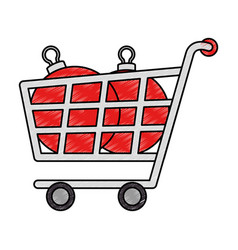 shopping cart with christmas balls vector image