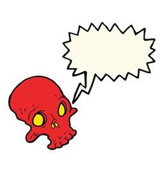 cartoon spooky skull with speech bubble vector image