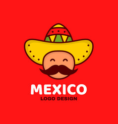 cute happy smiling mexico man face vector image vector image