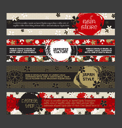 japanese banner templates set asian culture vector image vector image
