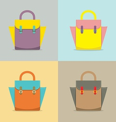 Set of Colorful Women Bag on White Background vector image vector image