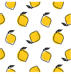 yellow lemon with leaves seamless pattern vector image
