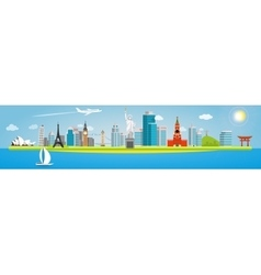 Banner on the topic of traveling around the world vector image