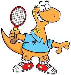 Cartoon brontosaurus playing tennis vector image