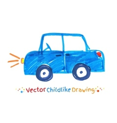 Felt pen childlike drawing of vehicle vector image