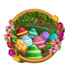frame with eggs flowers isolated on white vector image vector image