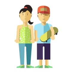 Happy girl and boy with skate Young people in vector image vector image
