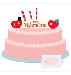 Happy valentine cake vector image vector image