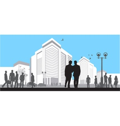 many silhouettes on blue sky background vector image vector image