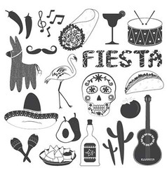 Mexico Party Icons Set vector image vector image
