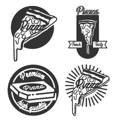 Vintage pizza emblems vector image