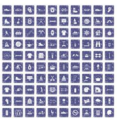 100 sport life icons set grunge sapphire vector image