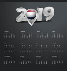 2019 calendar template grey typography with vector