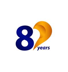 80 years anniversary celebration gold blue unique vector