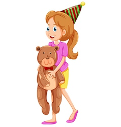 A lady holding a bear vector image