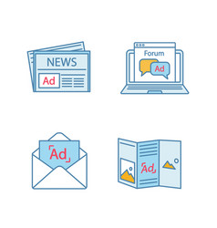 Advertising channels color icons set vector