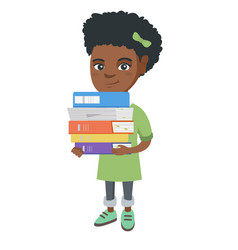 African school child holding pile of textbooks vector