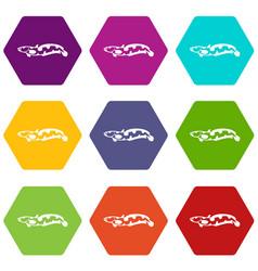 Anarhichas fish icon set color hexahedron vector