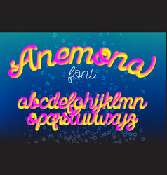 anemona color 3d alphabet pipe font vector image