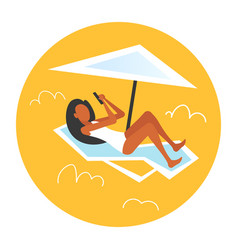 bikini woman sunbathing girl in swimsuit using vector image
