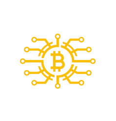 bitcoin icon on white vector image