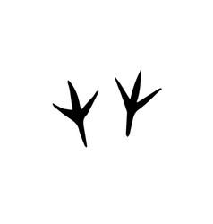Black bird paw steps icon vector