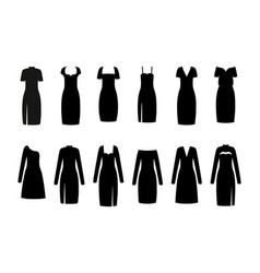 Black little dress women clothes vector