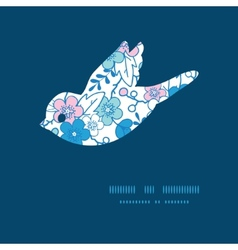 blue and pink kimono blossoms bird vector image